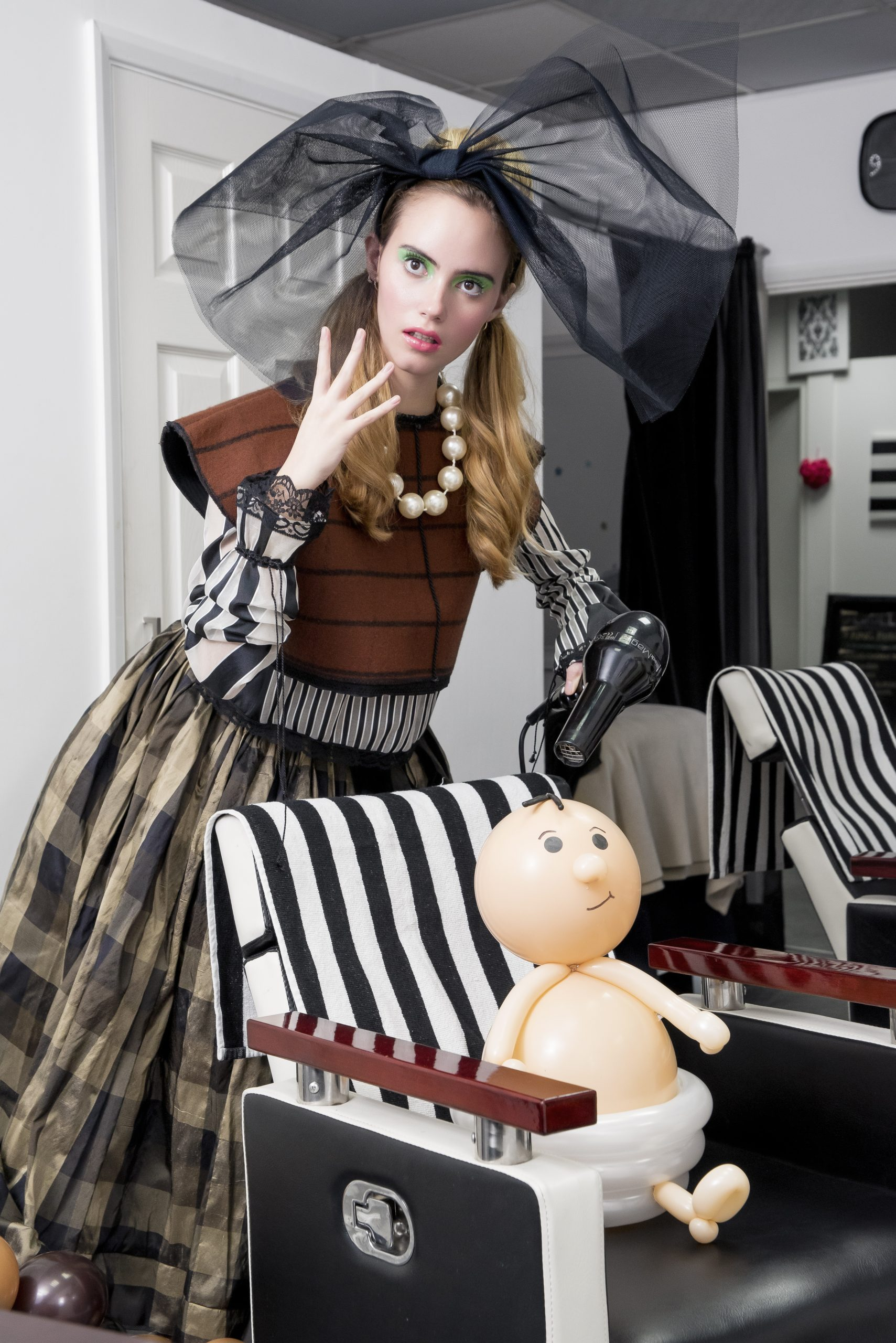 Hair and Makeup: Simone Graham Photographer: Emma-Jane Photography Models: Alice Rosano and Alexandra Smith Balloon artist: Natahsha Nordin @Airlegance Balloons Designer: Maurice M Connelly