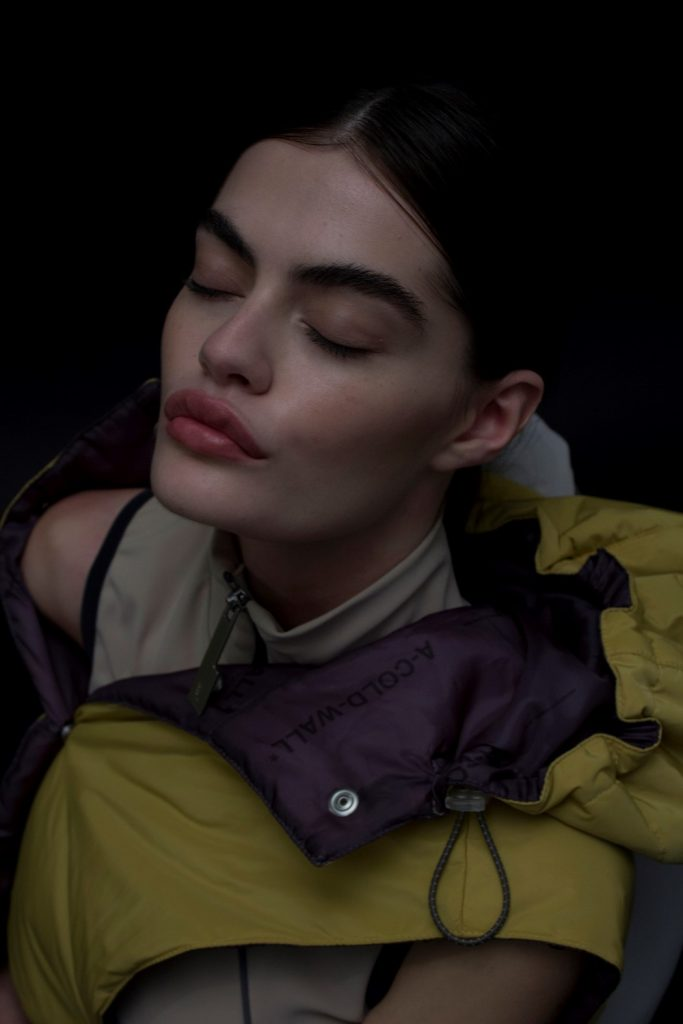 A Cold Walk SS19 Womenswear Hair and makeup: Simone Graham Makeup Artist Photographer: Ronan McKenzie Direction: Samuel Ross Model: Amelia Kearney Styling: Elliot Long & Yi Ng http://simonegraham.uk/a-cold-wall-ss19/